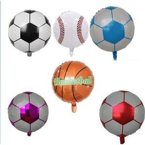 Алюминиевая фольга Воздушные шары Мультфильм Воздушный шар Сторона Украшения Баллон для детей День Рождения Украшения Игрушка 18-дюймовый Футбольный Баскетбол Дешевые G10706