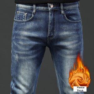 Shan bao homens na moda moda slim clássico marca vestuário inverno velo espesso confortável jeans jeans quente azul