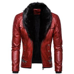 Men's leather jacket Leather Jacket Men Thick Rivet Design Motorcycle Biker Leather Jacket Male Fur Collar Windproof Coat