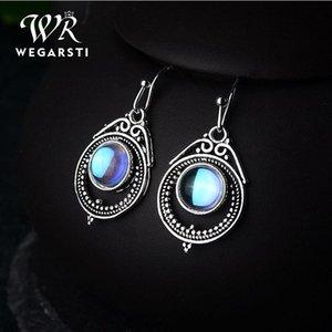Wegrsti Moonstone قطرة أقراط للنساء Roud استرخى أقراط Waterdrop حجر قطرة الأزياء والمجوهرات