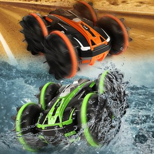 360 Rotate 2 Sides Waterproof Driving On Water And Land Amphibious Electric Toys For Children Rc Cars Remote Control Stunt CarHF5W