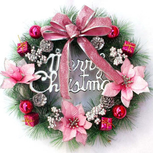 NEW White Peony Wreath Christmas Wreath Door Wall Hanging Ornament Rattan Round Garland Decoration Artificial Flower Fake Flower
