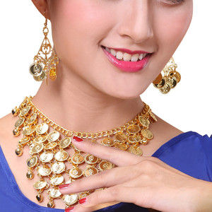 Two-Piece Belly Dance Jewelry Set Golden Coin Necklace Earring Kit (Gold)