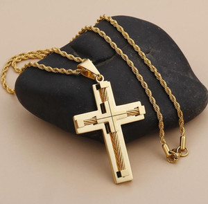 wholesale hip hop jewelry cross necklace mens gold chain pendants free shipping Xmas gift for men