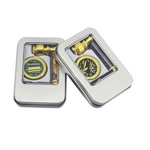 Free shipping DHL, UPS Tobacco Smoking Tin Box Herb Smoking Pipe Set with Metal Herb Grinder and Screen Pipe Set