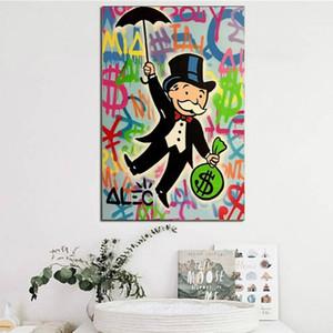 Pop Art Graffiti Pintura Alec Monopoly Dibujos animados Póster Impresiones Moderno Wall Art Fotos de Lienzo para Dormitorio Decoración para el hogar Cuadros Decoracion
