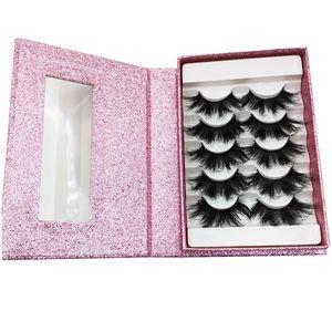 5 pairs lash books wholesale mink lashes 25mm false eyelashes fluffy messy 3d bulk pink glitter box supply dropshipping wholesale bulk