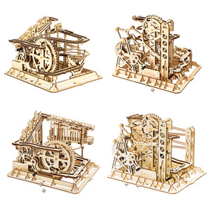 Robotime ROKR Blocks Marble Race Run Maze Balls Track DIY 3D Wooden Puzzle Coaster Model Building Kits Toys for Drop Shipping J1202