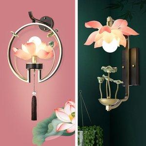 Pembe Beyaz Lotus Gölge Kapalı Aydınlatma Duvar Lambası Modern Ev Aydınlatma Dekor Aplik Yeşil Seramik Lotus Yaprak Lambası Koridor için