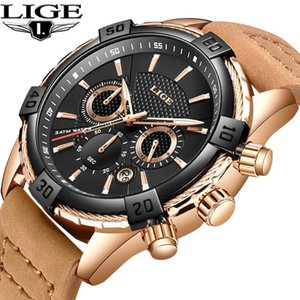 Montre Homme 2020 Luxe De Marque LIGE New Sport Watch Leather Antifreeze Watch Waterproof Quartz Relogio Masculino+Box