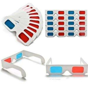 10PCS / الكثير عالمي ورقة النقش نظارات 3D ورقة نظارات 3D النقش مشاهدة أحمر سماوي الأحمر / الأزرق 3D زجاج لEF السينما