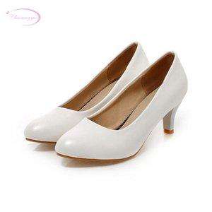 Chainingyee Leisure Escritório Estilo Sexy Pointed Toe Bombas Moda Deslizamento Preto Damasco Branco High-Heeled Sapatos Mulheres Grande