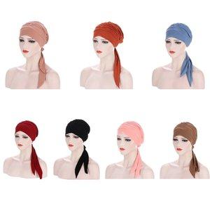 Femmes Musulman Hijab Cancer Chemo Hat Solid Clor Capuchon Couvercle Couvercle Cheveux Perte de cheveux Écharpe Enveloppe Pré-attachée Headwear Strech Bandanas Nouveau