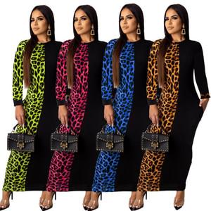 Femmes Contraste Couleur Automne Fashion Street Léopard Imprimer Patchwork Femme Slim Fit Robe longue Plus Taille