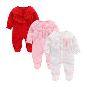 Spring Newborn baby girl footies 0 3 months outfits baby girl footed sleeper cotton girls jumpsuit Princess Style baby Clothing 201216