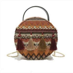 النمط العرقي إمرأة شرابة حقيبة الكتف الأزياء المنسوجة بلون مغاير حقيبة الصيف شاطئ حقيبة رسول