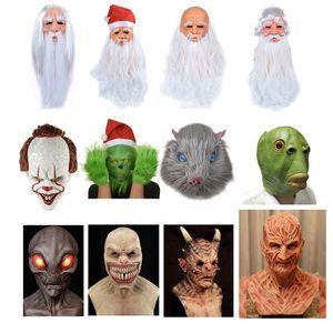 Santa Mask Horror Demon Palhaço Alien Green Grinch Máscara Palhaço Máscara de Látex Christmas Halloween Cosplay Traje Costura Quente
