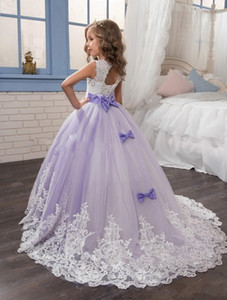 Beautiful Purple and White Flower Girls Dresses Beaded Lace Appliqued Bows Pageant Gowns for Kids Wedding Party Dresses For Girl