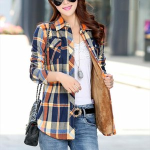 Winter Warm Blouses Women Coats Autumn Tops Camisa Femininas Long Sleeve Thick Velvet Plaid Shirt Flannel Shirts Full Cotton Top