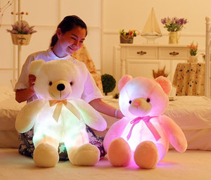 30cm 50cm glowing stuffeed animal led flashing plush cute light up coloful teddy bear dolls toy kid baby toy birthday holiday gift