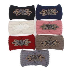 Dropshipping Diamond Knitted Crochet Headbands Women Winter Sports Hairband Turban Head Band Ear Muffs Cap Headbands for Party