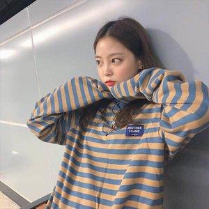 Korean Ulzzang O Neck Striped T shirt Women Casual Long Sleeve Loose T Shirt Color Block Retro Cotton Shirts Femmal