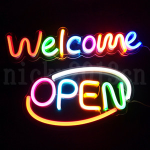 Super Bright 12V Open Welcome Sign Neon Light Strip Lamp Transparent Acrylic Board panel Multi Color Bussiness Shop Store Window Display