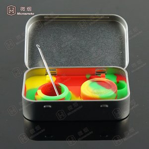 Silicone Kit Set With 1pcs Tin box 2pcs 5ml Silicone Dab Pad Containers For Wax Dabs jars And Silver Dabber Tool