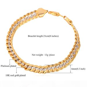 Classical Cool 18K Stamp Jewelry for Men or Women 18K Two-Tone Gold Plated Curb Chain Bracelet