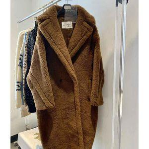 Женская шерстяная смесь COSMICCHIC 2021 зимние женщины длинные пальто плюшевого медвежонка двойной грудью Alpaca меховой вариант свободно стиль мода 12 цветов