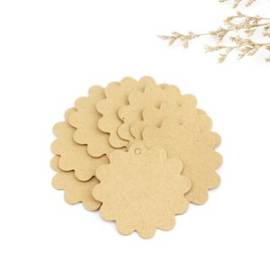 100Pcs Card Making Tools Lace Shaped Wedding Decoration Packaging Hang Tags Round Kraft Paper Labels 6*6cm Handmade