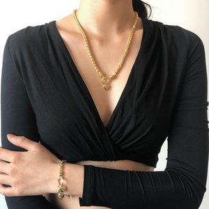 Chunky Thick Curb Cuban Miami Choker Necklace For Women Statement Gold Color Love Heart Pendant Necklace Set Jewelry Accessories