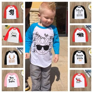 Kinder Kinder Pullover Hoodies Sweatshirt Patchwork Sleeve Blusen Jungen Mädchen Sweat shirts Pyjamas Top Ostern Valentinstag Geschenke E121605