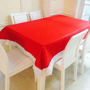 New Year Decorative Tablecloth Pure Color Red Long White Border Christmas Table Cover Festival Supplies Cloth 132x208cm
