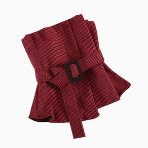Женские блузки рубашки красная клетчатая рубашка женщины твидовые от плеча верхняя зимняя блузка трубка без бретелек без рукавов сексуальные элегантные женские вершины и б