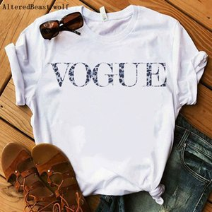 Women T-shirt New Arrival Fashion Casual Leopard VOGUE T Shirt Print Kawaii Letter Tops Harajuku White O-Neck Short Sleeve Tee