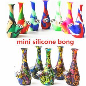 Forma de vaso Silicone Bong Fumar tubos duas partes com tigela de metal Silicone Rigs para fumaça inquebrável impressão Bongs