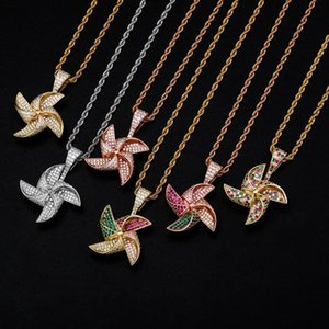 hip hop Rotatable personalized windmill Pendant necklaces for men women luxury necklace jewelry gold plated copper zircons Twist chain