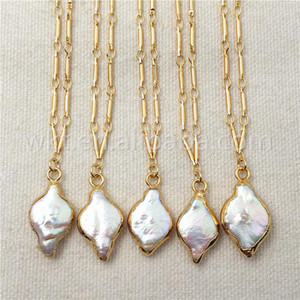WT-N831 WKT Natural Pearl Necklace & Pendant for Women Gift,Random Shape Charm Pearl Pendant Gold Electroplated Necklace