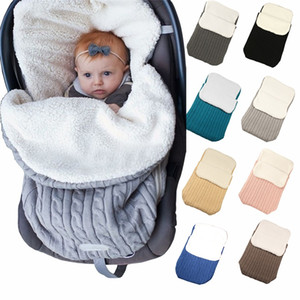 Thickening Wool Baby Sleeping Bag Plush Outdoors Garden Cart Warm Woolen Blanket Swaddle Cashmere Solid Color Hot Sale 22 5ly M2