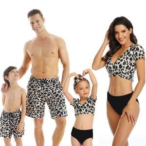 Sexy leopardo biquíni praia shorts família swimwear mamãe me roupas mãe mãe e filha combinando casal swimsuitpr2c
