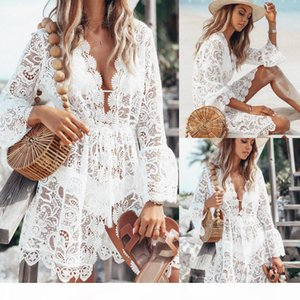 New 2020 Summer Women Beach Bikini Cover Ups Swimwear Floral Lace Hollow Crochet Swimsuit Cover-Ups Bathing Suit Beachwear Tunic Beach Dress