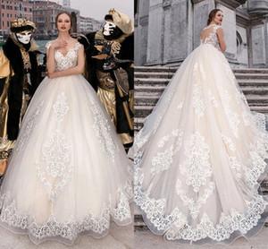 Plus Size A Line Wedding Dresses 2021 Sheer Neck Lace Appliqued Cap Sleeves Bridal Gowns Buttons Back Sweep Train robes de mariée AL7819