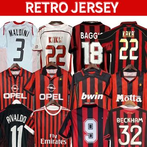 90 91 T-shirts rétro Accueil 96 97 Gullit Soccer Jersey 02 03 04 Maldini Van Basten Football Ronaldo Kaka Inzaghi AC 06 07 Milan 09 10 Shevchenko