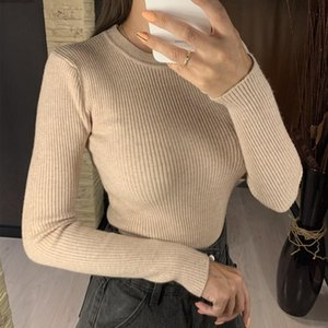 Colorfaith New 2020 Women's Autumn Winter Casual Knitwear Warm Pullover Minimalist Elegant Pink Ladies Jumpers SW1046