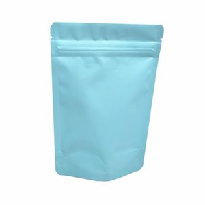 50pcs Heat Seal Matte Light Blue Pure Aluminum Foil Zip Lock Packaging Bag Mylar Stand Up Coffee Powder Dry Fruits Storage H bbyNLt