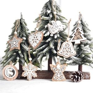 Wooden Christmas Ornaments Christmas Decorations Hollow Double White Ornaments Christmas Tree Ornaments Snowflake Pendant 2pcs bag XD24214