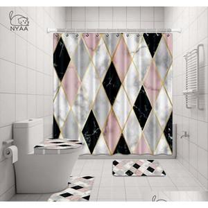 Nyaa 4 pz decorazione mosaico decorazione della doccia tenda piedistallo coperchio coperchio della toilette tappetino tappetino da bagno set per bathro Qylmai sweet07