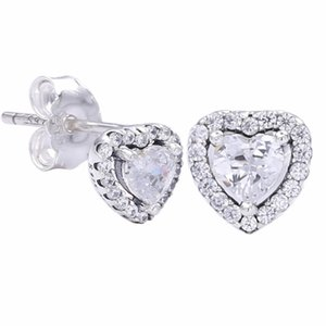Valentine's Day Authentic 925 Sterling Silver Earring Love Hearts Droplet Pave Clear Crystal Stud Earrings For Women Wedding Gift Jewelry