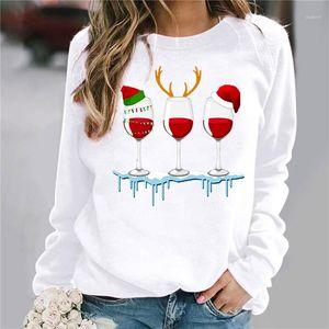Fashion Long Sleeved Christmas Hat Print Spring Autumn Tops For Woman Slim Tees Womens Designer Tshirts